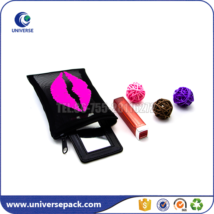 Printed Zipper Nylon Mesh Pouch for Lips with pu mirror inside