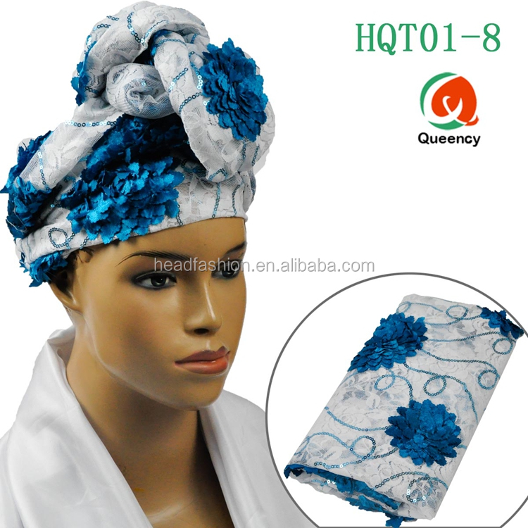 HQT01 Queency 2017 Nigerian Hijab Tube Turban Gele Embroidered Head Wraps African Head Tie