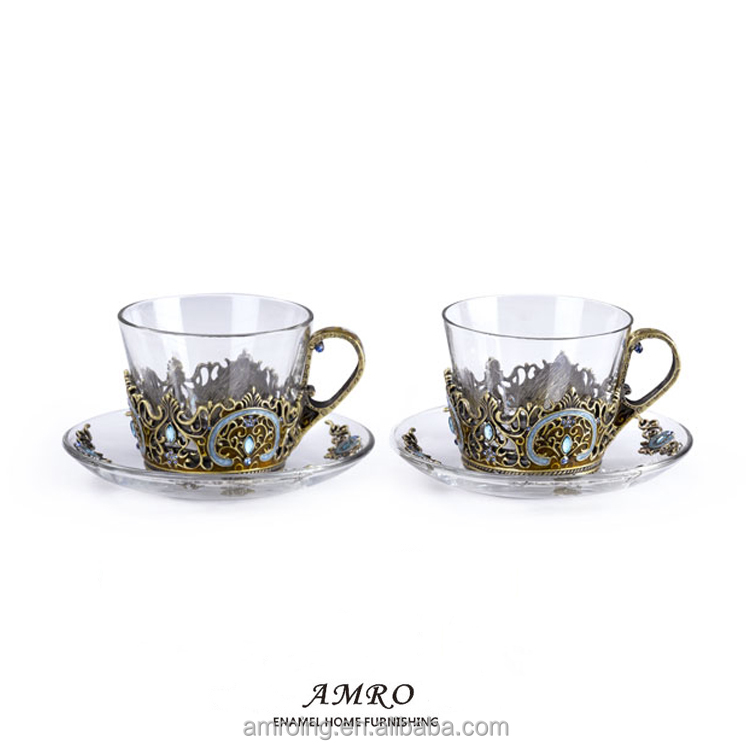 Traditional hand-painting Crystal Lead-free Barware Unique Original Design Short Drinking Glass Cup For Coffe / Tea / Water