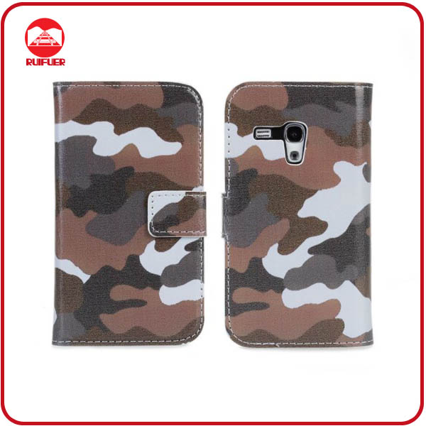 RF Manufacturer Wholesale Military Pattern Magnetic Flip Stand Wallet Leather Case S3 Mini I8190 With Card Slots