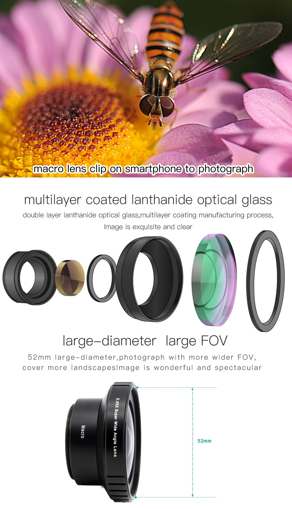 Lens Kit 0.45x Super Wide Angle Lens 15x Super Macro Lens Shop Interior Design For Mobile Phone Accessories