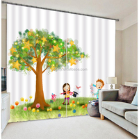 Top selling high quality polyester 3d curtain with curtain designs for kids living room