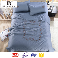 Vintage Design Butterfly Embroidery Satin Home Sense Bed Linen Bedding Set
