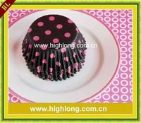 black with pink dots paper muffin cups,cupcake cases.