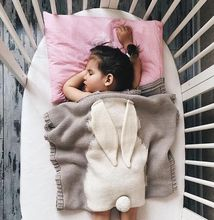 2017 alibaba Wholesale Newborn Bedding Knitted Baby Blanket Wrap Soft kids Blankets Big Rabbit Ear Swaddling Kids blankets