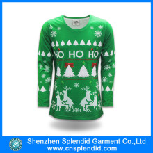 Design Christmas clothes custom long men 100 cotton christmas t-shirts