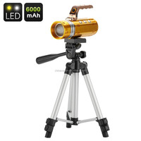 3 Color LED Fishing Flashlight - 200 Lumen, Touch Buttons, Tripod, 6000mAh Battery