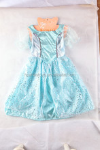 high quality luminous kids blue skirt blingbling sequin princess dress for party