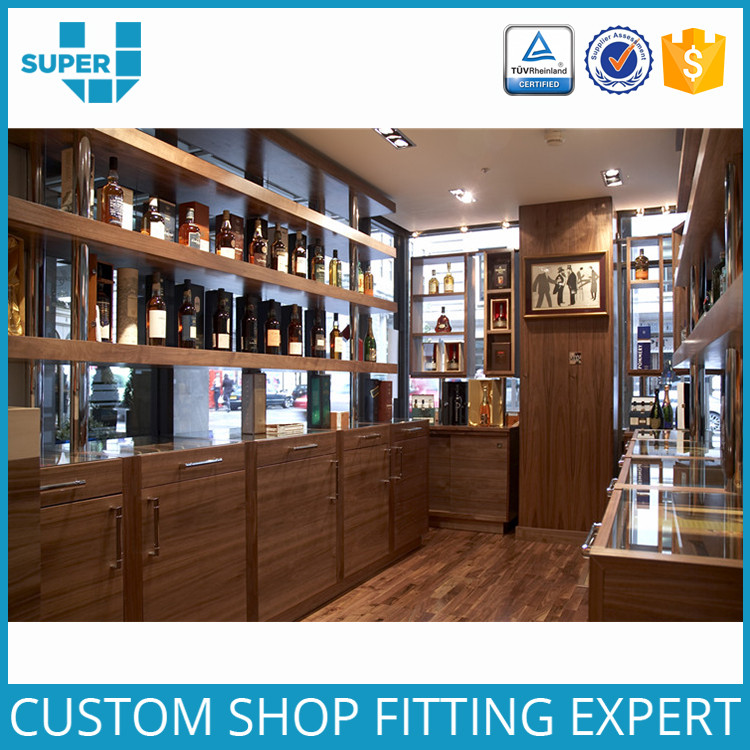 Shopping Mall Decoration Furniture Mdf Wood Display For Wine