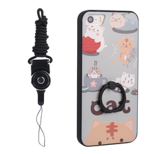 Lovely Cartoon Cats Style Relief Case TPU+PC Phone Bag For Iphone 5 5s Back Cover+Lanyard+Plastic Rings Stander