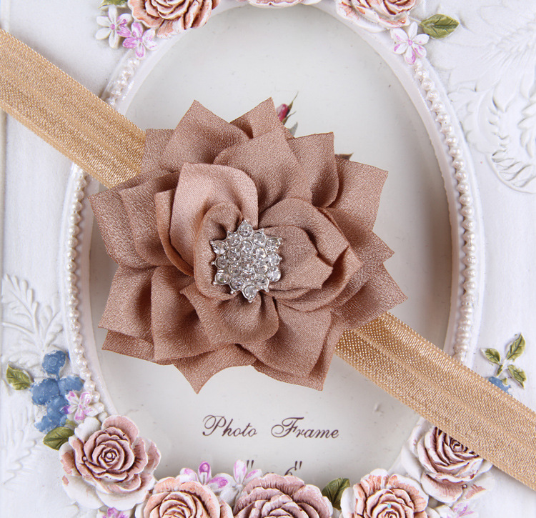 High Quality Handmade Chiffon Puff Flower/Scallop Chiffon Fabric Flower/Chiffon Decorative Hair Flower Baby Girl Headband