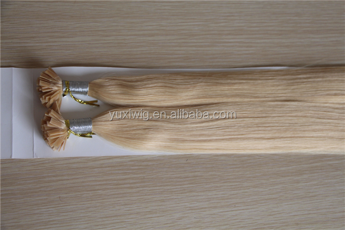 Human remy european nail hair double drawn flat tip