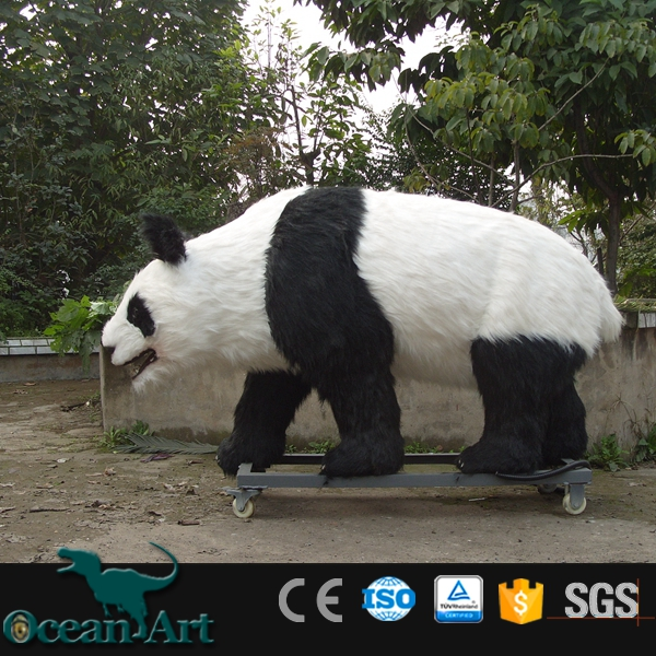 OAZ3805 customized handmade Life saize panda statue animatronic panda figure for sale