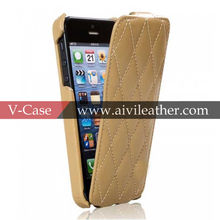 Top Sell New Design Luxury Genuine Leather Phone Case for iphone5s Top Flip Case