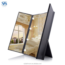 Table Standing ABS Three Way Makeup Mirror With Lights LED