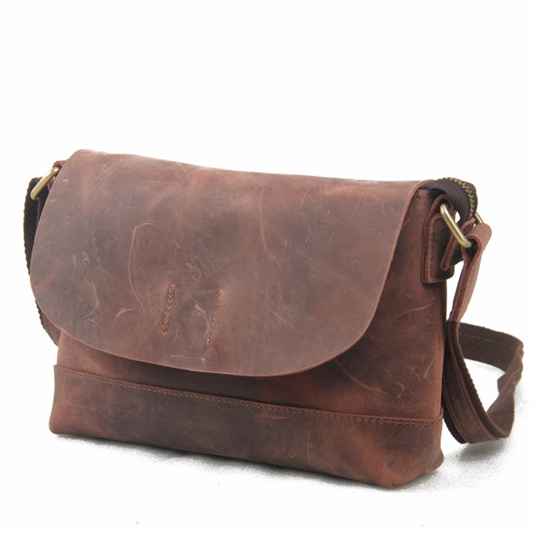 Mens Crazy Horse Leather Single Shoulder bags Vintage Messenger bag