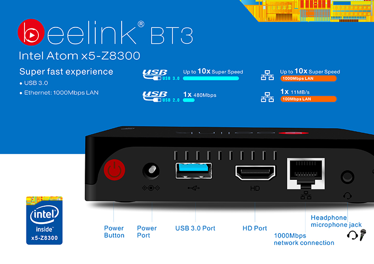 2016 Foctroy Wholesale Beelink Intel BT3 Smart Intel Z8300 Cherry Trail TV Box WIN10 MINI PC