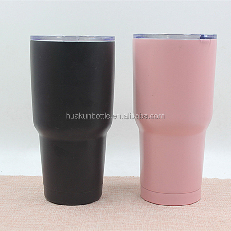wholesale 30oz double wall stainless steel powder coated tumbler with clear plastic lid outdoor travel beer cup customized