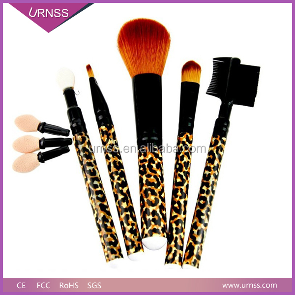 5 Piece Double End Natural Hair Mini Cosmetic Makeup Brush Set Kit with Black Zipper Case/Purse