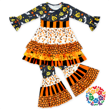 Wholesale Baby Girls Fall Long Sleeve Halloween Custume High Quality Ruffle Remake Child Clothes