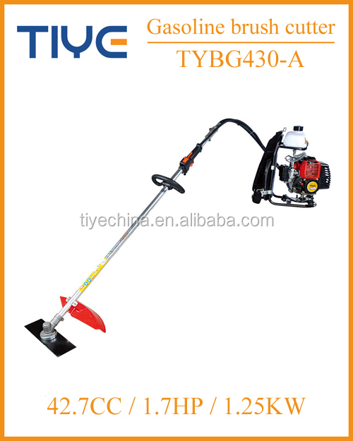 1250w single cylinder gas engine backpack brush cutter with 26mm shaft brush cutter brands TIYE