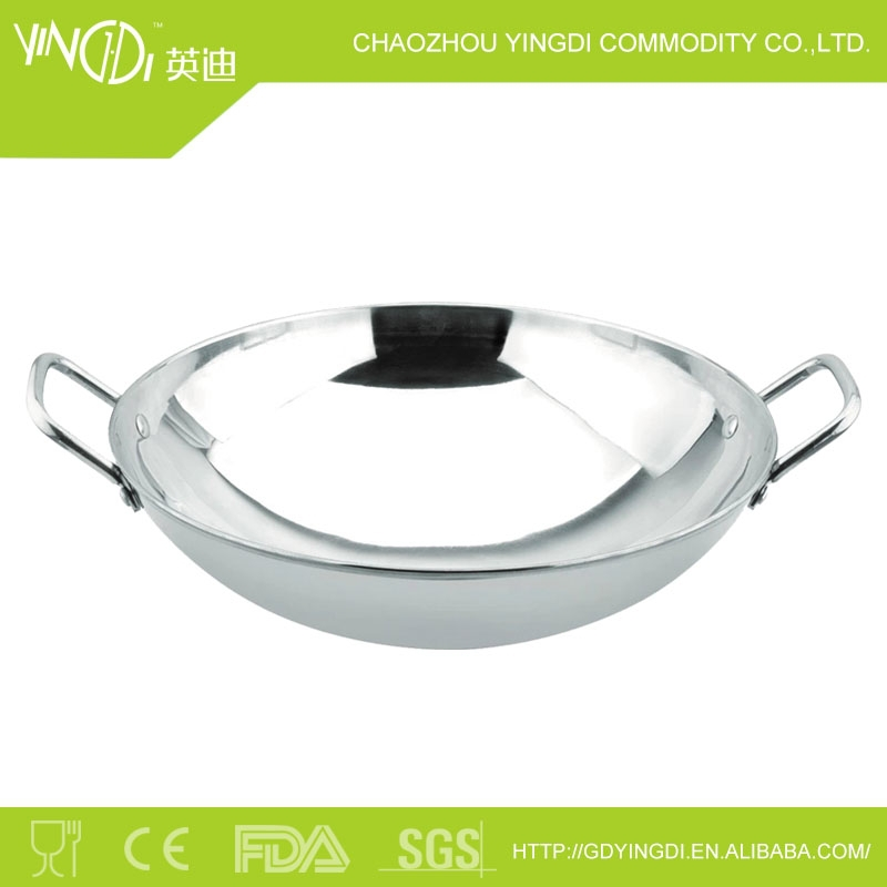 frying pan for cooking with Double handle and round bottom