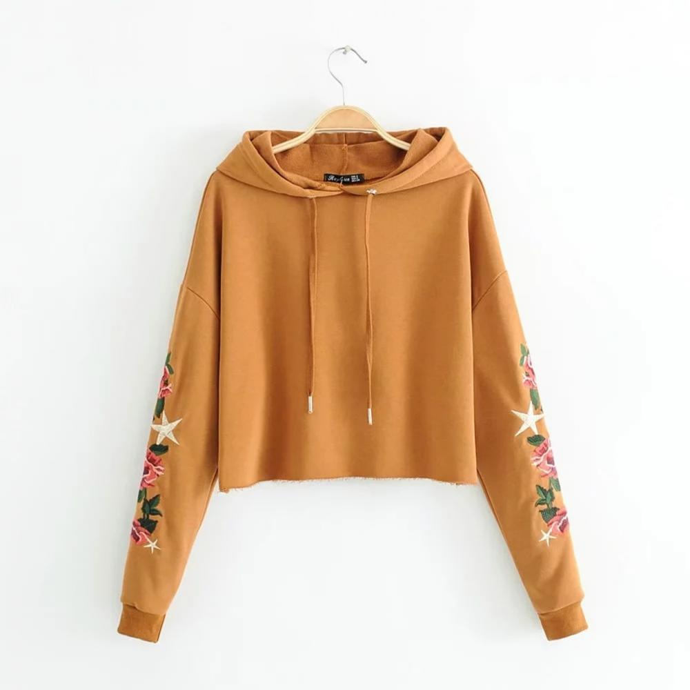 Caramel colour long sleeve drawstring embroidered crop top hoodies women vetements