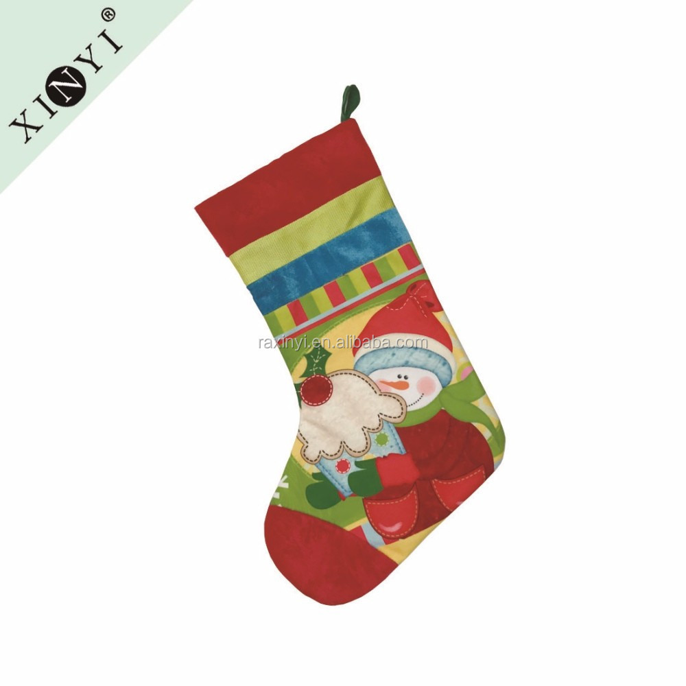 Snowman design fancy new christmas decoration 2016 sublimation christmas stocking / dog bone fish shaped pet christmas stocking