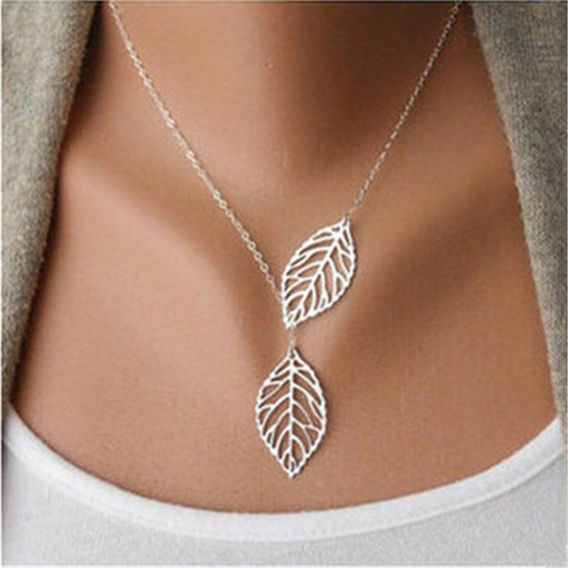 New  Designer Women Fashion Simple 2 Leaves Choker Necklace Collar Statement Necklace Women Jewelry  CLL0043