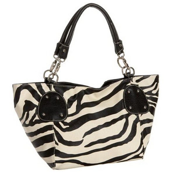 Black Large Zebra Print Pu Leather Satchel Bag Handbag Purse