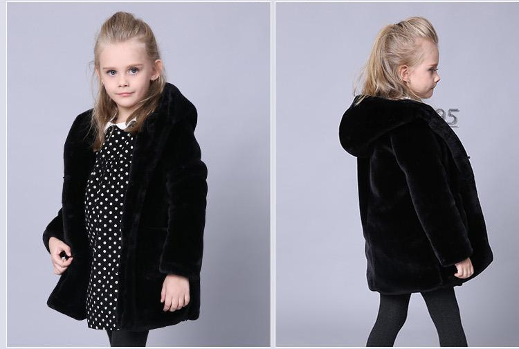 Children winter faux mink fur coats hot sale girl fake fur coats