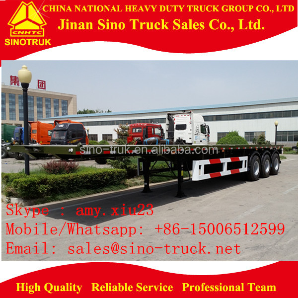 flat bed type heavy duty large capacity tri axle van type semi trailer / 3 axles truck trailer for sale