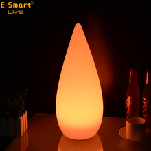 water drop PE plastic cordless remote control RGB color changing decorative cordless led table lamp