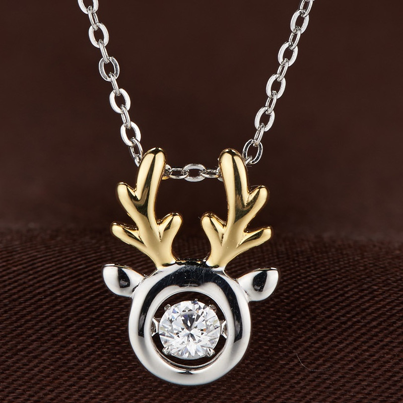 really dancing stone jewelry/Chrismas reindeer head pendant jewelry/glittering diamond jewelry