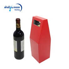 Custom design new die cut handle eva red paper cardboard christmas bottle gift boxes packaging christmas takeaway wine box