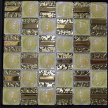 yellow luxury tiffany glass round mosaic tile