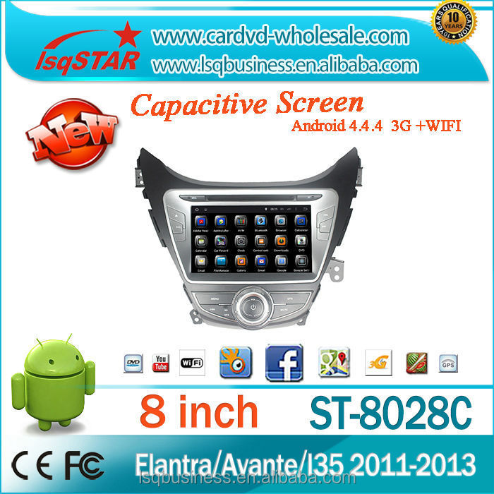 HD1024*600 For Hyundai Elantra/ Avante/ I35 Car Audio DVD With Android 4.4 Quad Core 3G Wifi MP3