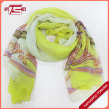 Chinoiserie printing fashion polyester chiffon ladies scarf
