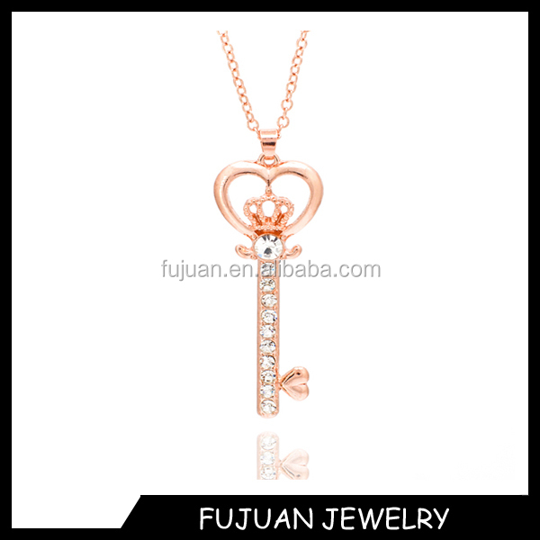 New design of plated crown key pendant necklace wholesale