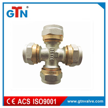 China manufacturer hydraulic copper hose fitting cross nickel plated ART023NH pex al pex fitting