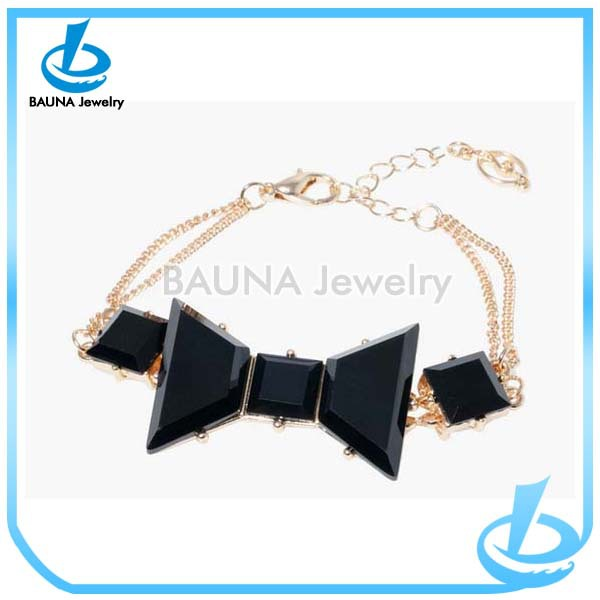 Fashion style latest design black acrylic bow bracelet for lady/women sale double chain jewelry
