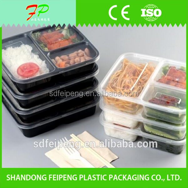 Wholesale PP 3 Compartments Disposable Lunch Box