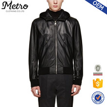 Custom Made Cheap Men Hooded Leather Jacket Made In China