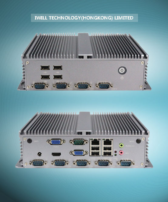 Iwill IBOX-207 mini itx wall mounted fanless embedded pc with dual VGA and 10COM
