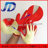 Jersey knitted cotton lined latex coated work glove