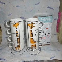 Stacking Coffee Mugs Gift sets with stand metal rack