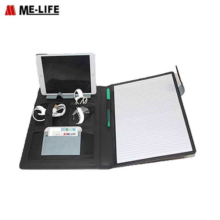 a4 size file folder USB folder business portfolio charge leather padfolio