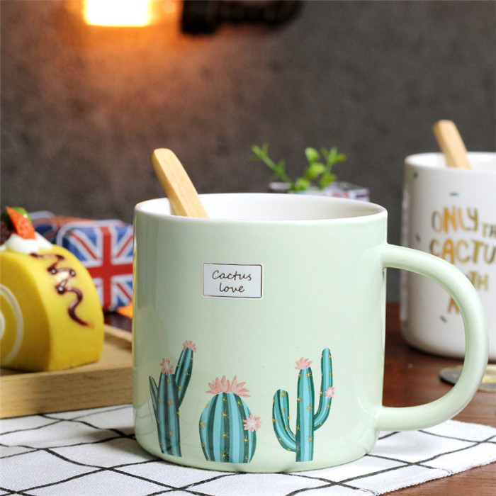 Promotional gift cactus ceramic water tea milk coffee mug with wooden spoon