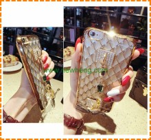 Fashion Chain Bracelet Diamond Gem Transparent TPU Plating back cover case for Iphone 6/6s plus
