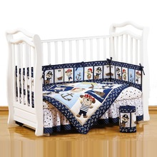 2017 new design wholesale natural cotton polyester applique embroidery pirate baby crib bedding sheets set